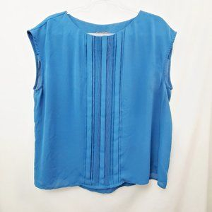 ADRIANNA PAPELL Chiffon Pleated Teal Blue Blouse